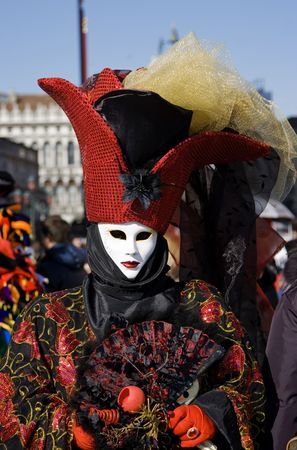 Portrait of a woman in a flamboyant costume at the carnival of Venice, Italy, 2009 Stock Photo - 4604102