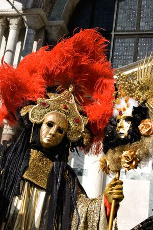 Portrait of a woman in a flamboyant costume at the carnival of Venice, Italy, 2009 Stock Photo
