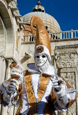 attired: Portrait of a woman in a flamboyant costume at the carnival of Venice, Italy, 2009 Stock Photo