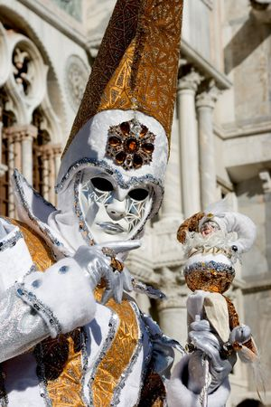 garish: Portrait of a woman in a flamboyant costume at the carnival of Venice, Italy, 2009 Stock Photo