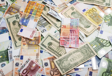 swiss franc note: Background of lots of bills of mixed currency and value of euro, dollars and swiss francs Stock Photo