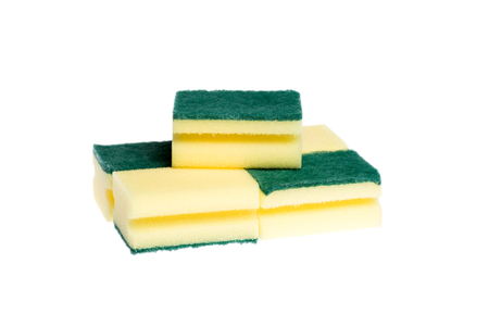 dishwashing: five dishwashing sponges on white background Stock Photo
