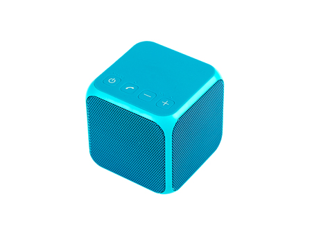 Blue bluetooth speaker cube isolated on white background