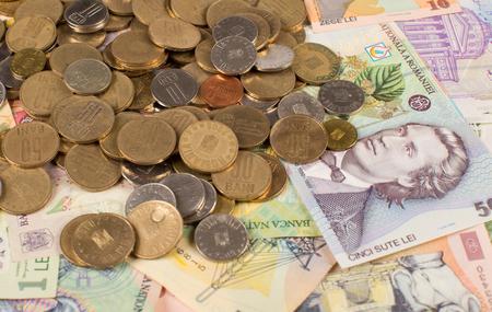 Verschiedene Banknoten Und Münzen Von Rumänien Geld Lizenzfreie