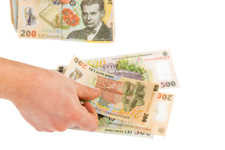 Man counting romanian money - ron Stock Photo