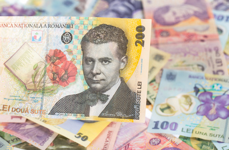 200 lei banknote on romanian money background Stock Photo