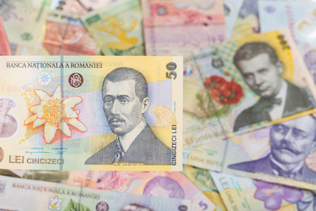 50 lei banknote on romanian money background