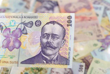 100 lei banknote on romanian money background