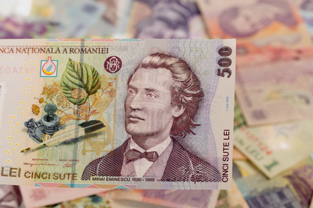 500 lei banknote on romanian money background