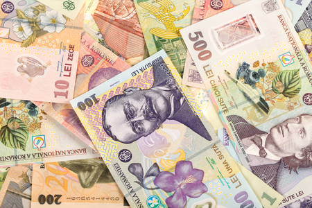 Lots of romanian money banknotes background