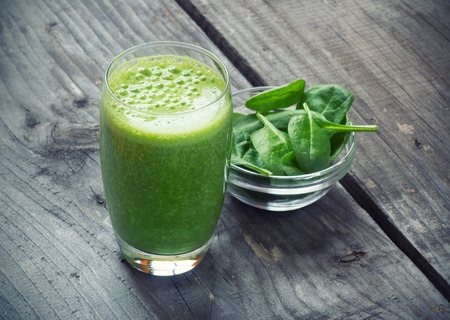 juice fresh vegetables: Spinach smoothie Stock Photo