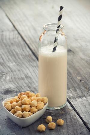 ヘーゼル ナッツ ミルク 写真素材