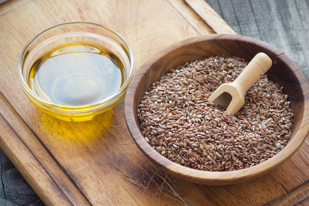 flax seed oil: Brown flax seeds  and flaxseed oil