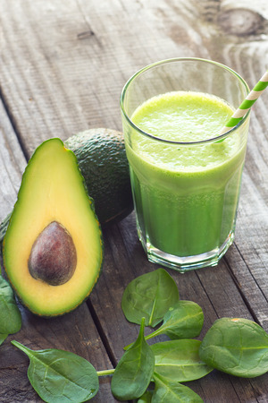 fresh spinach: Avocado and baby spinach smoothie