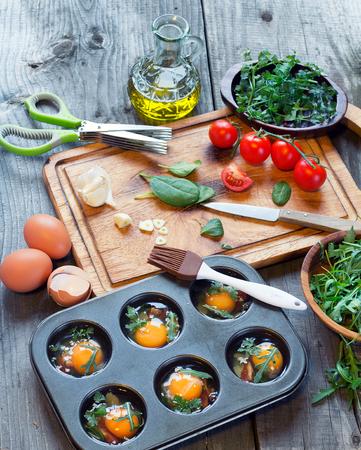 rukola: preparing egg muffins