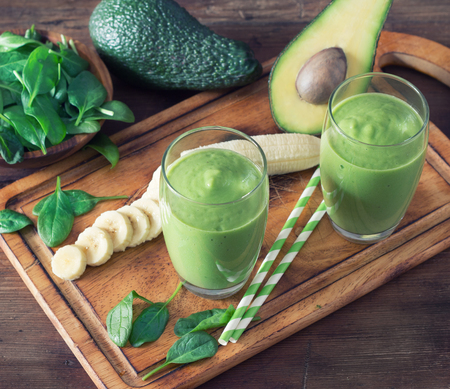 smoothie: Avocado Smoothie, Made with Fresh Avocados, Spinach, Banana and Non Dairy Milk. Stock Photo