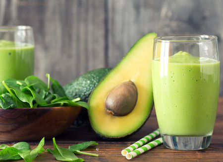 Avocado and Spinach Smoothie, Made with Fresh Avocados, Spinach and Non Dairy Milk. Stock Photo