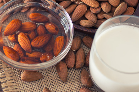 soaked: Soaked almonds and homemade almond milk