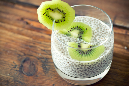 Chia seed pudding with kiwi Stok Fotoğraf