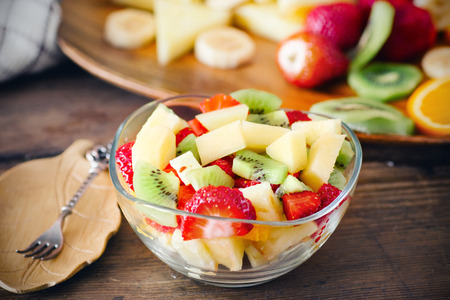 salad with fresh fruits and berries Stok Fotoğraf