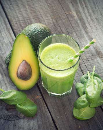 Avocado and Spinach Smoothie, Made with Fresh Avocados, Spinach and Non Dairy Milk. Stok Fotoğraf
