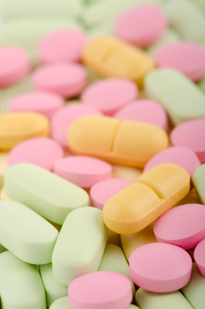 things that go together: Bright pills Stock Photo