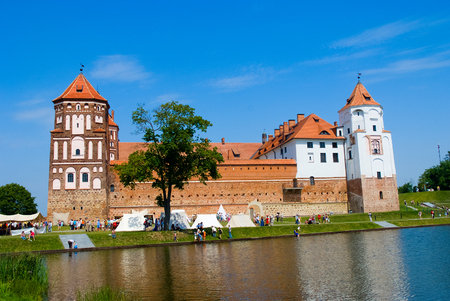 Medieval castle in Mir, Belarus. An outstanding example of the defensive architecture of the XVI century.  Gothic style.
