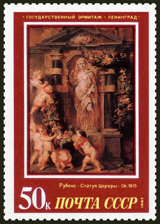 USSR - CIRCA 1987: A stamp printed in the USSR by artist Peter Paul Rubens Statue of Ceres