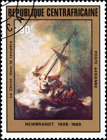 Central African Republic -? IRCA 1981: A stamp of a painting artist Rembrandt Christ in the Storm on the Sea of ??Galilee