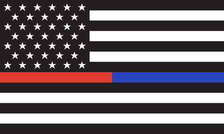 Vector Thin Blue Line & Red Line Illustration