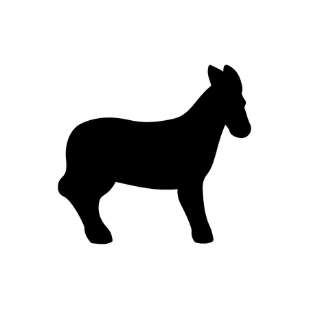 Vector black donkey silhouette for natural design illustration.