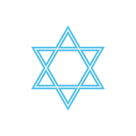 Vector abstract cute Star of David icon  isolated on a white background