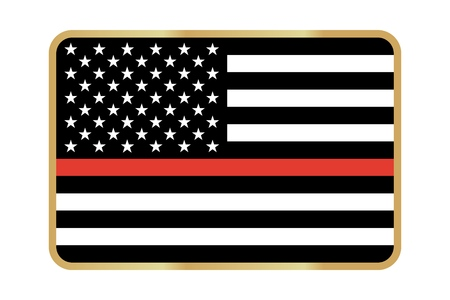 Thin Red Line Firefighter Flag Vector icon