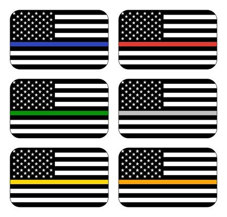 Vector reproduction American Thin Line Flag Set Illustration