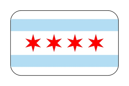 Vector Reproduction flag of Chicago simple design icon Illustration