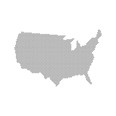 Abstract map of the United States created from dots Illustration