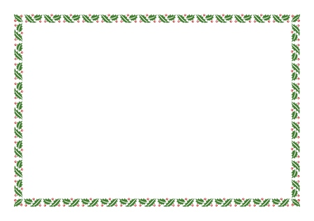 New Year Vector Green Christmas Holly Border