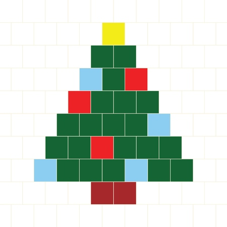 Vector Hama Beads Pattern - Christmas tree