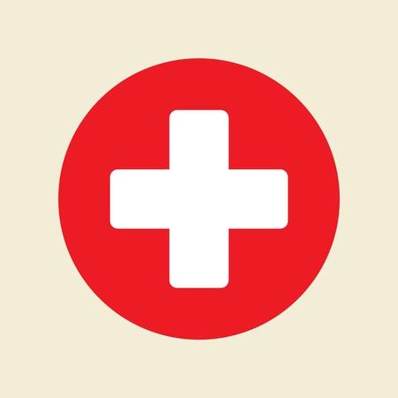 Primo soccorso. Icona di vettore croce medica. Segno di medicinali e farmacia.