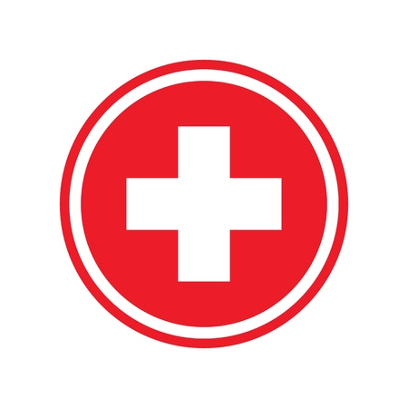 First aid. Medical cross vector icon. Medicinal and pharmacy sign.