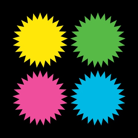 A collection of different colors starburst. Vintage style labels.