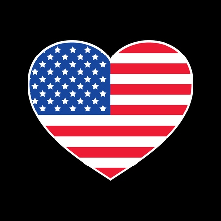Vector Trendy American Flag in Heart for print, gift, web, scrap and patchwork.