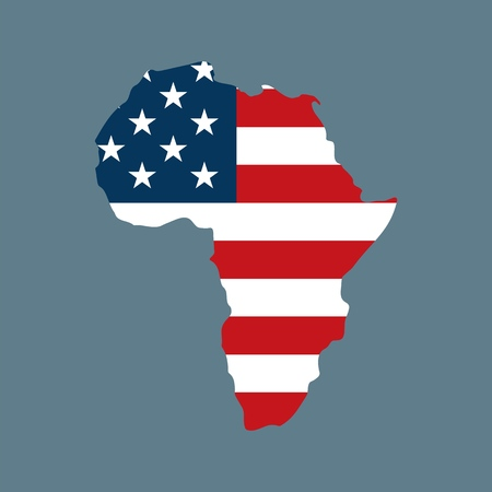 Vector Trendy American Flag in African Map for print, gift, web, scrap and patchwork.