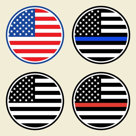 Vector Trendy Round American Flag Set for print, gift, web, scrap and patchwork.