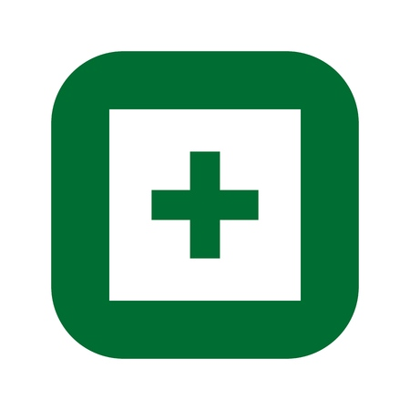 First aid. Green medical cross vector icon. Medicinal and Pharmacy sign. Cannabis symbol. 向量圖像