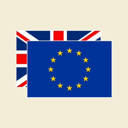Vector UK and EU Flags Icons Set