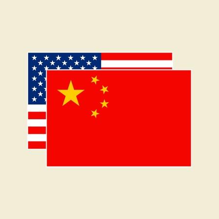 Vector China and USA Flags Icons set