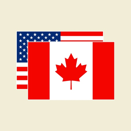 Vector Canadian and American Flags Icons set