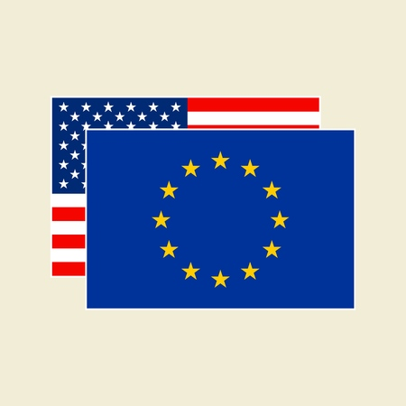 Vector US and EU Flags Icons Set