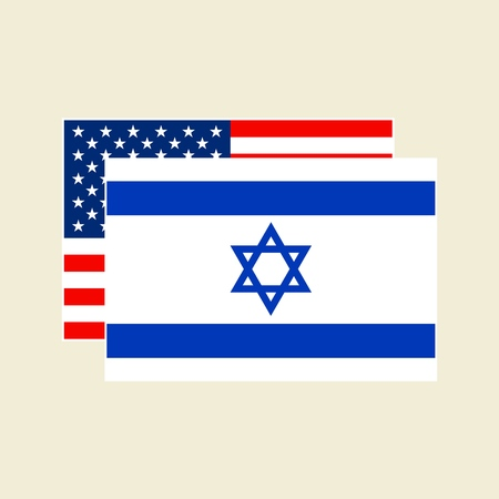 Vector USA and Israel Flags icons Set